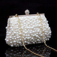 Women's Sequin Beaded Handbag Clutch Purse Makeup Bag Wedding Evening Bag