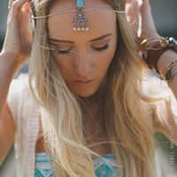 Head Chain, Silver, Boho Headband, Coachella, Bohemian, Headpiece, Stone Turquoise and Silver Hanging Head Piece, Adjustable (PNM-HB-215)