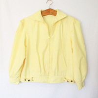 Vintage 1980s Pale Yellow Members Only Style Jacket
