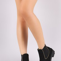 Bamboo beads Trim Suede Side Elastic Gore Chelsea Booties