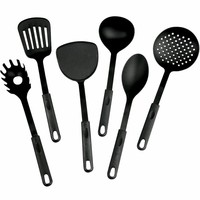 Evelots 6 Kitchen Utensils,Heat Resistant Plastic Slotted Strainer Spoon Spatula