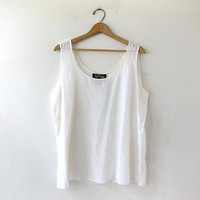 Vintage silk tank top. white sheer silk top. oversized silk tank. minimalist modern tank.