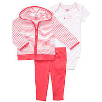 """Carter's Girls """"I Love Mommy"""" 3 Piece Set with Hooded Cardigan, Bodysuit and Pant"""