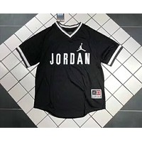 AIR JORDAN AJ 2018 new heavy embroidery V-neck short sleeve t-shirt F-YF-MLBKS black