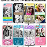 Personalised PHOTO MONOGRAM iPhone 4 4s / 5 5s Custom Picture Rubber Case Cover