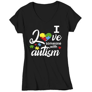 Women's V-Neck Autism T Shirt Love Someone With Autism Shirt Heart Puzzle Love Autism T Shirt Autism Awareness Shirt