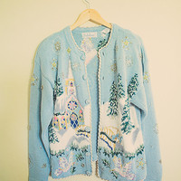 Vintage Cute Ugly Christmas Sweater L:ight Blue Gold Silver Women's Size Medium M Church Grandma Sweater Long Sleeves Cozy  Pastel 80s