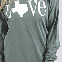 charlie southern: classic state love long sleeve - Texas [green]