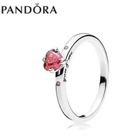 Pandora Women Fashion New Red Gem Personality Ring Silver