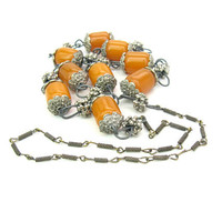 Tribal Beads Necklace. Faux Copal Amber. Mixed Metal Links. Ethnic Himalayan Handmade Jewelry. Long Vintage Boho Style Jewelry
