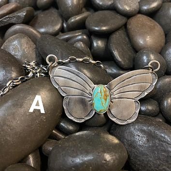 Genuine Sterling Silver & Turquoise Butterfly Necklace