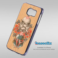 Star Wars Roses Tatto in Wood For Smartphone Case