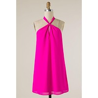 Front Knot Halter Dress - Hot Pink