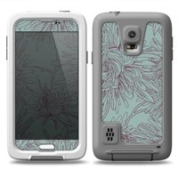 The Teal Aster Flower Lined Skin for the Samsung Galaxy S5 fre LifeProof Case (Decal Only)