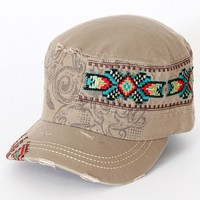 Accessories Plus® Tan Aztec Patch Army Hat