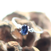 Genuine Blue Sapphire Sliver Ring, 925 Sapphire Ring, Birthdays, Wedding. Anniversary, Valentine, Bridemaid, Bridal, Special Occasions