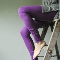 Purple Tie Dyed Cotton Leggings, Hand Dyed-  Made to Order in two weeks
