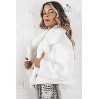 Red Carpet Off White Faux Fur Short Jacket