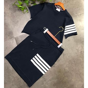 """Thom Browne"" Women Temperament Retro Stripe Short Sleeve Top Short Skirt Set Two-Piece Casual Wear"