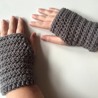 Gray Crocheted Wrist Warmers, Fingerless Gloves Handmade