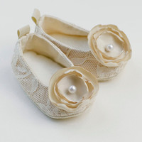 12 colors Baby Girl Baby Shoes Beige Lace by revolutionarysoul