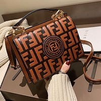 Fendi Fashion New More Letter Leather Shopping Leisure Shoulder Bag Women Coffee
