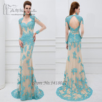Long Elegant Blue Champagne Long Sleeve Lace Prom Dresses 2016 Backless Mermaid Evening Dress Women Couture Vestidos de Fiesta-in Prom Dresses from Weddings & Events on Aliexpress.com | Alibaba Group