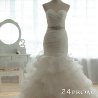 White Mermaid Wedding Dress,Cheap Wedding Dress