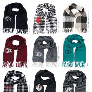 Mongrammed Acrylic Knit Cashmere Personalized Scarves. A holiday gift favorite!