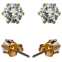 Crystal Gold Plated Stud Earrings