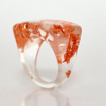 Copper Flakes Transparent Resin Ring, Handmade Resin Jewelry