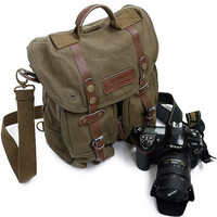 Coffee Green Safari canvas Camera Bag  shoulders canvas with cowhide backpack - Hand Crafted Canvas Camera Bag  F1006