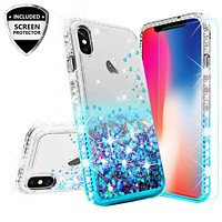 Apple iPhone XR Case Liquid Glitter Phone Case Waterfall Floating Quicksand Bling Sparkle Cute Protective Girls Women Cover for iPhone XR - Teal