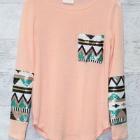 Havana Nights Terry Peach Tribal Sequin Sleeve Pocket Top
