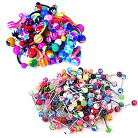 25-100PC Belly Rings Tongue Barbells Steel Flexible Bar 14G Acrylic Assorted Mix Jewelry