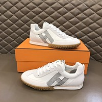 HERMES2021 Men Fashion Boots fashionable Casual leather Breathable Sneakers Running Shoes06030qh