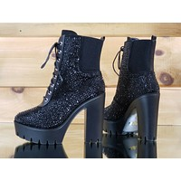 "Bari Black Jeweled 4.75"" Chunky High Heel Lug Sole Ankle Boot US Sizes 7-11"