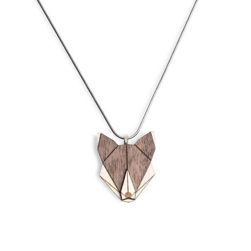 Wooden Wolf Necklace
