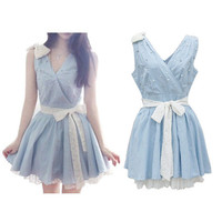 Fresh Rhinestone Bowknot Blue Lace Dress