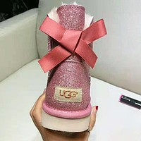 UGG: Winter Stylish Women Shiny Pink Bow Leather Wool Boots Shoes In Tube