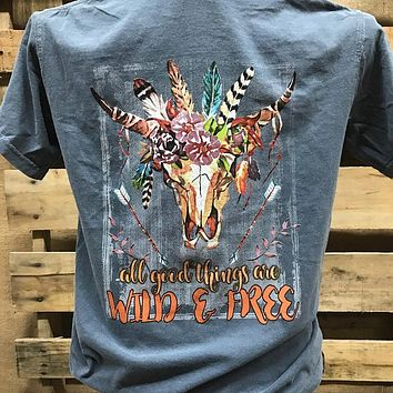 Southern Chics Apparel Wild & Free Deer Skull Feathers Comfort Colors Girlie Bright T Shirt