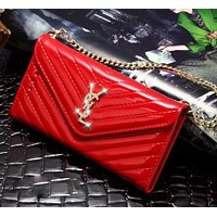 YSL Fashion new diamond letter mobile phone shell chain leather case women phone case protective cover bag Red
