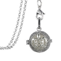 """32"""" Chain Antique Silver Plated Sea Turtle Shape Essential Oil Diffuser Pendant Necklace Therapy Luminous Jewelry"""