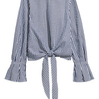 Seersucker top - White/Blue striped - | H&M GB