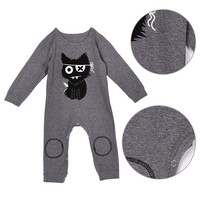 Baby Boys Warm Clothes Cartoon Print Cartoon Style Jumpsuit Baby Girl Rompers Baby Clothing