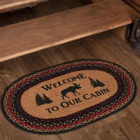 Cumberland Moose Welcome To Our Cabin Braided Oval Rug