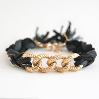 Black braided bracelet with chunky chain, cotton and faux leather bracelet, black and gold