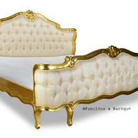 Fabulous and Baroque — Elise French Upholstered Bed - Gold Leaf