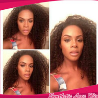 Hot selling Top Sale Kinky Curly Wigs Synthetic Lace Front Wigs long curly natural synthetic lace front wig for black women