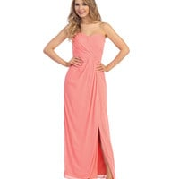 (PRE-ORDER) 2014 Prom Dresses - Coral Ruched Chiffon Strapless Sweetheart Gown